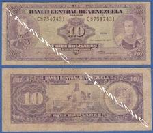 VENEZUELA 10 Bolivares 1979 BOLIVAR-LIBERTADOR / MARISCAL ANTONIO JOSE DE SUCRE And MONUMENT TO BATTLE OF CORABOBO - Venezuela