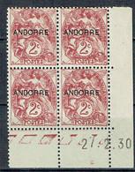 3 Andorre 2 C. Type Blanc Marron Coin Daté 27-02-1930 Luxe - Andorre Français