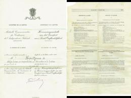 Certificat. Distinction Honorifique Médaille Commémorative Du Centenaire De L'indépendance Nationale.  1931 - Professionals / Firms