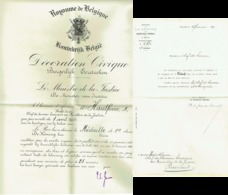 Certificat. Distinction Honorifique Civique Pour Médaille I E Classe.  1931 - Professionals / Firms