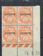 4 Andorre 3 C. Type Blanc Orange Coin Daté 19-05-1930 Luxe - Andorre Français