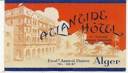 ALGER . ATLANTIQUE HOTEL . BD AMIRAL PIERRE - Adesivi Di Alberghi