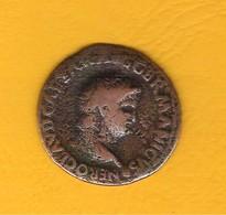 Monnaie Empire Romain Très Beau As/Dupondius De NERON En Cuivre Revers Néron Joueur De Harpe Joli Profil - 1. The Julio-Claudians (27 BC To 69 AD)