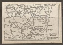 CARTE PLAN 1927 - VIVARAIS RÉGION SUD - ROUTES PRINCIPALES AUTRES ROUTES - PRIVAS DONZERE BESSEGES - Topographical Maps