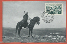 JOURNEE DU TIMBRE MAROC CARTE DE CASABLANCA DE 1954 - Dag Van De Postzegel