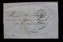 1850 LAC PARIS INTRA-MUROS CAD TYPE 15 DU 25/04/1850 CACHET BLEU PORT DÛ15C  LEVEE ET DISTRI... - 1849-1876: Période Classique