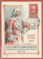 JOURNEE DU TIMBRE TUNISIE CARTE MAXIMUM DE TUNIS DE 1953 - Dag Van De Postzegel