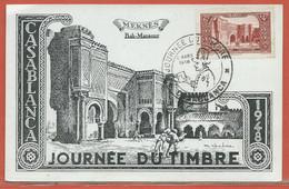 JOURNEE DU TIMBRE MAROC CARTE MAXIMUM DE CASABLANCA DE 1948 - Dag Van De Postzegel
