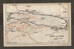 CARTE PLAN 1927 - FORET De SAOU - ROUTES CARROSSABLES SENTIERS - PAS D'ÉCHELETTE PAS De BERLE PAS De SIARAZ - Topographical Maps