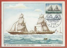 JOURNEE DU TIMBRE FRANCE CARTE MAXIMUM DE PARIS DE 1965 - Dag Van De Postzegel