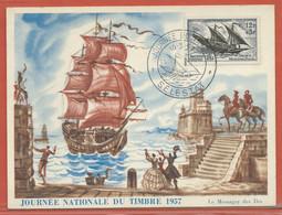 JOURNEE DU TIMBRE FRANCE CARTE MAXIMUM DE SELESTAT DE 1957 - Dag Van De Postzegel