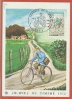 JOURNEE DU TIMBRE FRANCE CARTE MAXIMUM DE PARIS DE 1972 - Dag Van De Postzegel