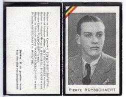 Doodsprentje WO II Pierre RUYSSCHAERT °1925 Brugge ZEESCOUT POLITIEK GEVANGENE DOODGEMARTELD +1945 Nordhausen - Images Religieuses
