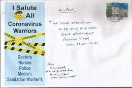 Covid,Salute To Coronavirus Warriors,Doctors,Nurses,Police,Media's,Sanitation Worker,Used Philatelic Cover,With Dly Pmk - Disease