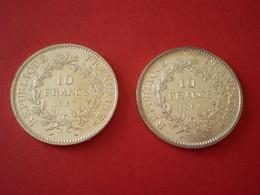 10 Francs Hercule Argent 1967 & 1968. France - Frankreich