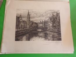 2 Eaux-fortes Signées CHABRIDON Bruges Pont Du Cheval  -quai Du Rosaire - Altri