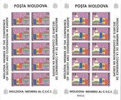 Moldova 1992 Moldova's Accession To The CSCE. Prague Castle, Helsinki Cathedral, National Flag, Mi 41-42 Sheets MNH(**) - Moldova