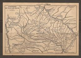 CARTE PLAN 1927 - ENVIRONS De VALS Les BAINS - MONTS Du VIVARAIS PRADELLES MONTPÉZAT THUEYTS AUBENAS VALGORGE - Topographical Maps