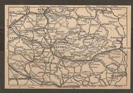 CARTE PLAN 1927 - CIRCUIT LAVAUR GAILLAC ALBI CASTRES FORET NOIRE MONT L'ESPINASSE REVEL BÉZIERS - Topographical Maps