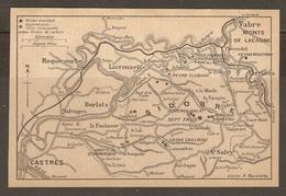 CARTE PLAN 1927 - VABRE MONTS De LACAUNE - SIDOBRE CASSE CAILLOUX CASTRES LACROUZETTE BURLATS SALVAGES - Topographical Maps