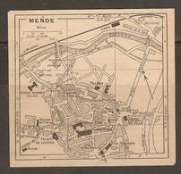 CARTE PLAN 1927 - MENDE - CASERNES ÉCOLE NORMALE POSTE TÉLÉGRAPHE THÉATRE - Topographical Maps