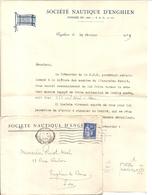 ENGHIEN LES BAINS . SOCIETE NAUTIQUE . 1939 . ENV + LETTRE - Pubblicitari
