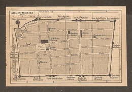 CARTE PLAN 1927 - AIGUES MORTES - TOURS Et PORTES THÉATRE - Topographical Maps