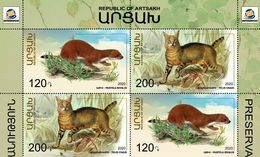Artsakh - Armenia - Nagorno Karabakh 2020 Mi 220-221 Zd BLOCK Fauna Widlife Jungle Cat Least Weasel MNH** - Armenia