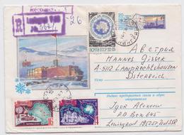 Antarctique Antarctica Urss Cccp Ussr Stationery Entier Postal Illustré Léningrad Timbre Carte Map Camion-Chenille Truck - Estaciones Científicas