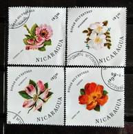 142. NICARAGUA (04 DIFF) 1986 USED STAMP FLOWERS . - Nicaragua