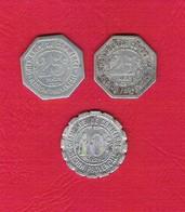 Lot 3 Jetons De Nécessité 10et 25 Cts Chambres De Commerce Région Provençale 1921 Alais Marseille Gap Toulon Nimes Arles - Monetary / Of Necessity