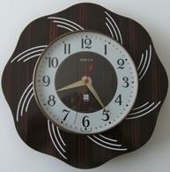 Horloge Murale Vedette Formica Bois Quartz Fonctionne Rosace Vintage Rétro Déco - Horloges