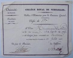 Edouard Haussmann, Billet D'admission Collège Royal De Versailles - Diploma & School Reports