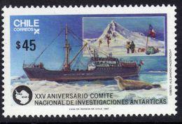 Polaire Chili N° 830 XX 25ème Anniversaire Du Comité National  Pour La Recherche En Antarctique Sans Charnière TB - Non Classificati