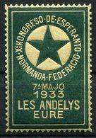 VIGNETTE **  DU Xa KONGRESO DE ESPERANTO NORMANDA FEDERACIO 7a MAJO 1933 LES ANDELYS EURE - Esperanto