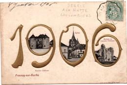 Fresnay-sur-Sarthe 1906 - Composition Gaufrée Et Dorée De La Librairie Bigot-Evrard Avec église Et Château - France
