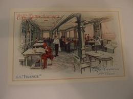 CPA Compagnie Générale Transatlantique Paquebot S.S. France Café Terrasse 1ères Classes - Steamers
