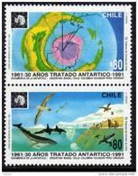 Polaire Chili N° 1070 / 71 XX 30ème Anniversaire Du Traité Sur L'Antarctique  La Paire Sans Charnière TB - Non Classificati