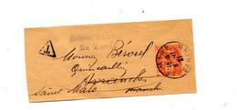 Fragment Bande De Journal 3 Blanc Cachet Le Mans - Postal Stamped Stationery