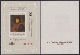 Rákóczi HUNFILA Stamp Exhibition 2003 MABÉOSZ Federation Hungary Philatelists Commemorative Sheet GIFT - Commemorative Sheets