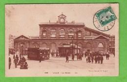 CONVOYEUR LILLE A PARIS 2° D  SUR CARTE POSTALE DE LILLE  LA GARE - Railway Post