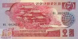 KOREA 5 WON 1988 PICK 36 UNC - Korea, Noord