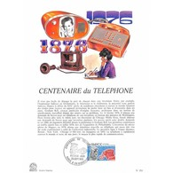 Encart Sur Papier Glacé - Centenaire Du Téléphone - 25/09/1976 Paris Et Riquewihr - Documents De La Poste