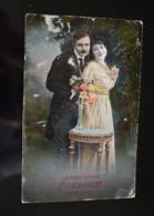 B732 Couple Gallant Love Romantic Szivelyes Udvozlet Erzsébet Névnapjára - Couples