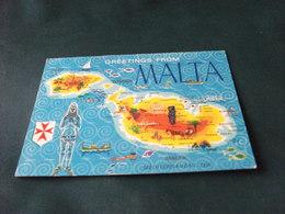 STORIA POSTALE MALTA CARTA GEOGRAFICA GREETINGS FROM MALTA  SCI NAUTICO SCI AQUATICO GOZO VALLETTA PIEGA - Malta