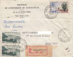 MADAGASCAR - 1963 - Lettre Du Rectorat De L'université Par Avion Recommandée De Madagascar Pour La France - Madagaskar (1960-...)
