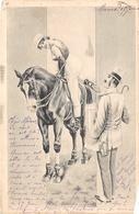 Sport.   Hippisme :     Une Jolie Cavalière Et Un Gentleman   Carte Dessinée           (voir Scan) - Horse Show