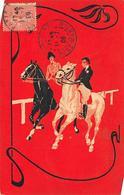 Sport.   Hippisme :     Cavalier Et Cavalière Sur Leurs Chevaux    Carte Dessinée           (voir Scan) - Horse Show