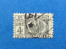 1946 ITALIA LUOGOTENENZA PACCHI POSTALI 4 LIRE 1 PARTE BOLLETTINO FRANCOBOLLO USATO ITALY STAMP USED - 5. 1944-46 Lieutenance & Umberto II