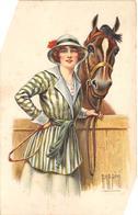 Sport.   Hippisme :     Jolie Cavalière Et Son Cheval     Carte Dessinée Par Rappini           (voir Scan) - Horse Show